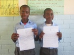Grade 6 with their pen pal letters for Markham Middle School, my old stomping grounds!