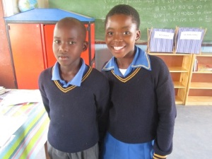 Buhle and Zanele, tow learners who didn't speak in the beginning but are getting more comfortable with trying