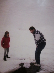 My first time in th snow. I'm pretty sure I coerced my father into building a snowman for me...