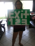 Allison and her sign -- it's Springsteen's exit in New Jersey!