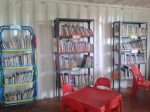 Paige's library from our Books for Africa project for a preschool and orphans and vulnerable children in her community