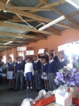 "Monica's grade 6 learners' skit with a sign that says ""thank you"" in all 11 of the official South African languages"